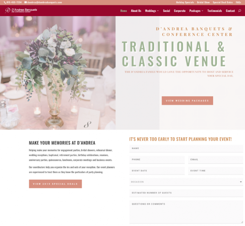 Wedding Venue website Design