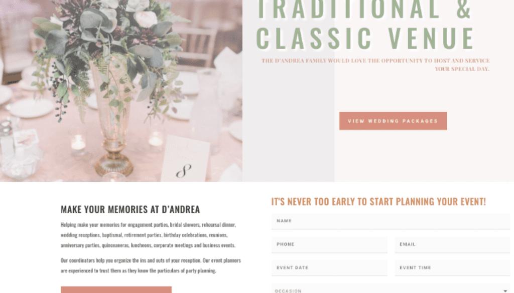 Wedding Venue website Design